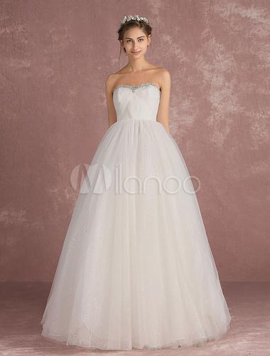 df41dc6a7d7 ... Принцесса свадебное платье тюль свадебное платье без бретелек бисером  спинки платье цвета слоновой кости с блестками ...
