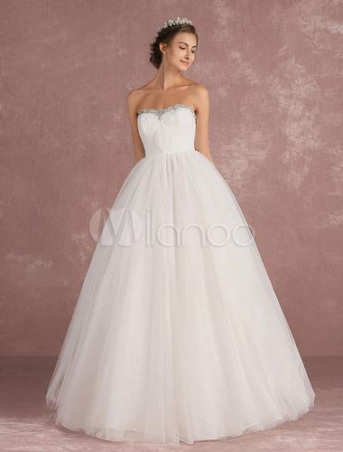 Princess wedding dress tulle bridal dress strapless for Strapless and backless wedding dress