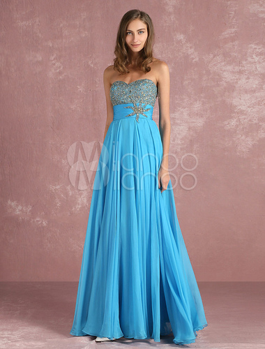 ... Chiffon Prom Dress Cyan Beading A Line Occasion Dress Strapless Sweetheart  Sleeveless Pleated Floor Length Party ... 5f61be262