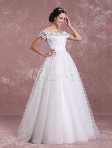 Prinzessin Hochzeitskleid aus der Schulter Tüll Brautkleid Elfenbein ...