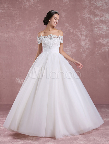 ... Princess Wedding Dress Off The Shoulder Tulle Bridal Dress Ivory Lace Floor  Length Bridal Gown  ...