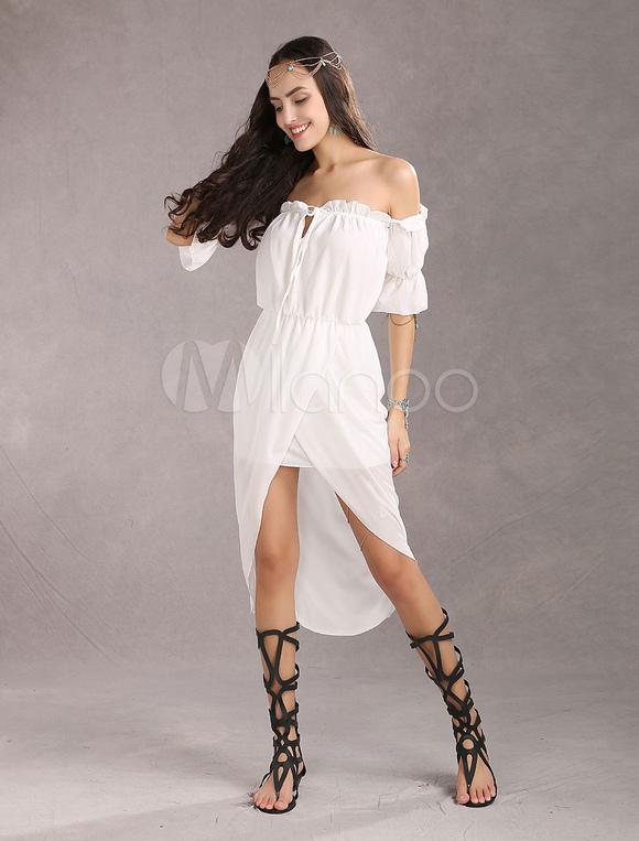 7cfd8cf82e ... White Boho Dresses Chiffon Off Shoulder Bohemian High Low Summer Dress-No.2  ...