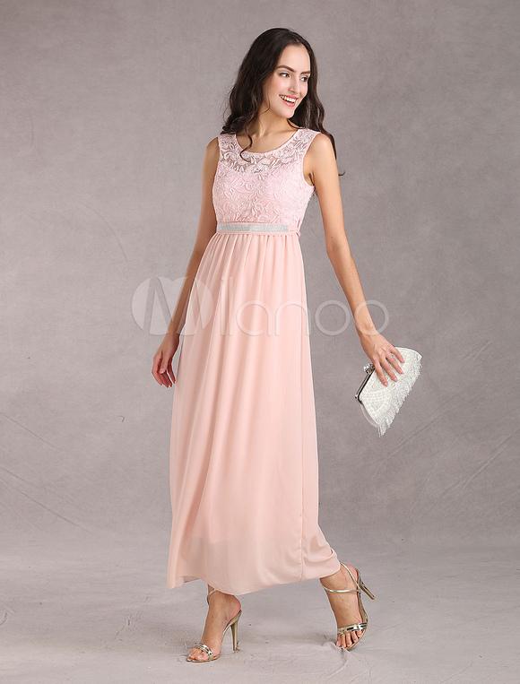 Langes Kleid mit Rhinestone-Schärpe Gürtel in Rosa Abschlussball ...