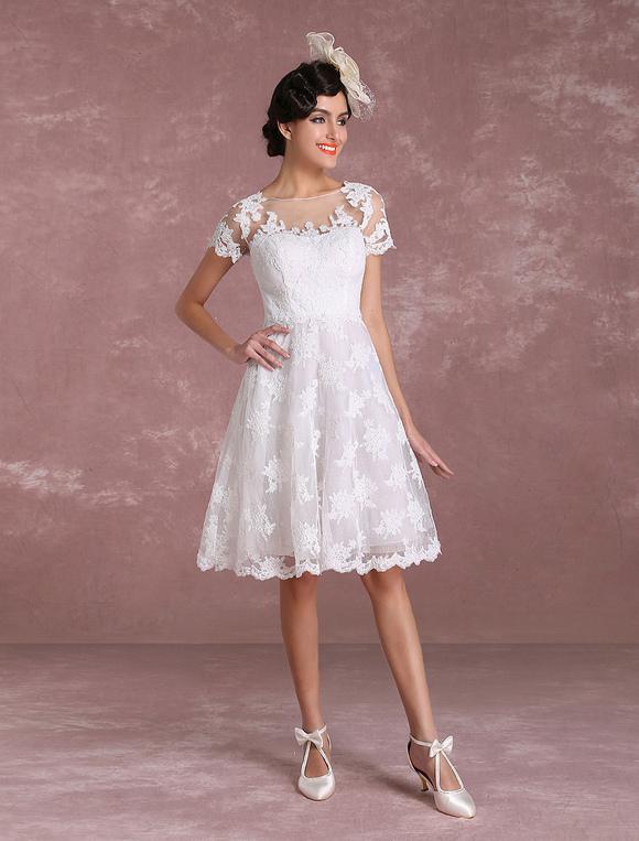 Vintage wedding dresses 2017 short lace applique bridal gown short vintage wedding dresses 2017 short lace applique bridal gown short sleeve illusion bridal dress milanoo junglespirit Images