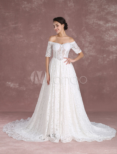 Princess Wedding Dresses Lace Off The Shoulder Bridal Gown Half Sleeve Boned Illusion Dress With