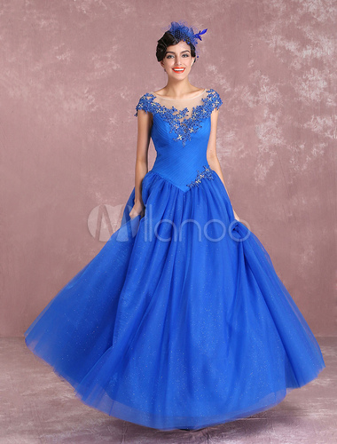 Princess Wedding Dresses Royal Blue Tulle Bridal Gown Illusion Neck ...