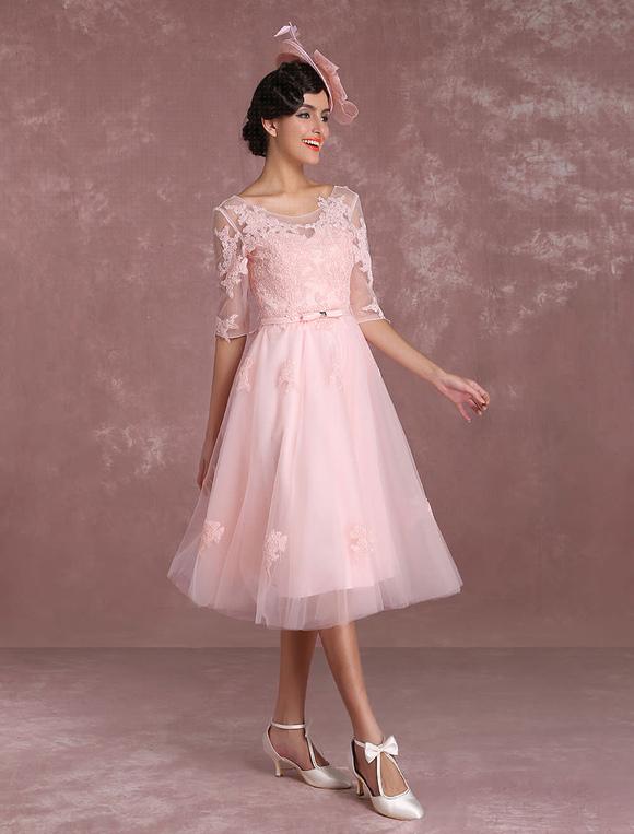 Short Wedding Dresses 2018 Vintage Soft Pink Bridal Gown Lace Lique Illusion Half Sleeve Tea Length