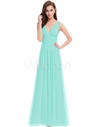 Chiffon Mother Dress Mint Green Long Prom Dress V Neck A Line Floor ...