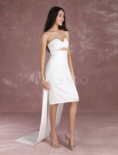 Sequined Celebrity Dresses White Strapless Sweetheart Sleeveless ...