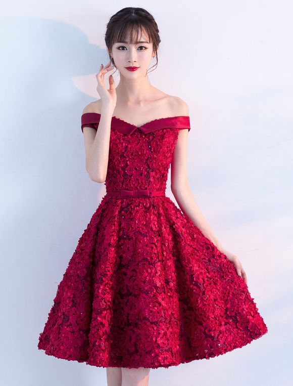 a6fd4e22fce ... Lace Homecoming Dresses Off The Shoulder Short Cocktail Dress Burgundy  Knee Length Graduation Dress-No. 12
