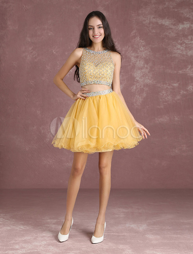 f00d9c532d1 ... Two Piece Homecoming Dresses Light Gold Short Prom Dresses Crop Top  Tulle Illusion Beading A Line ...