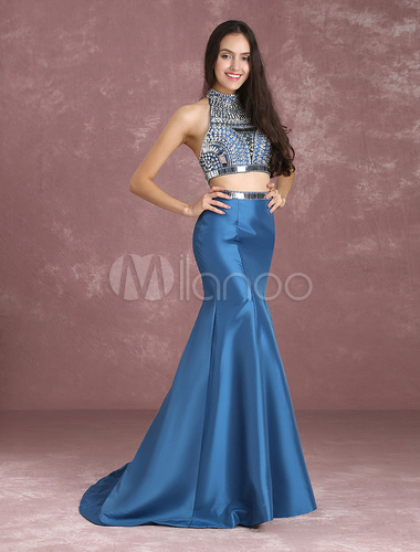 227953fa6e33 ... Two Piece Prom Dresses Mermaid Homecoming Dress Crop Top Ink Blue  Taffeta Beading High Collar Occasion ...