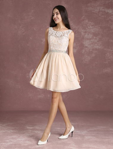 Short Homecoming Dress Nude Chiffon Backless Prom Dresses Lace Beading Sash A Line Mini Graduation Dress