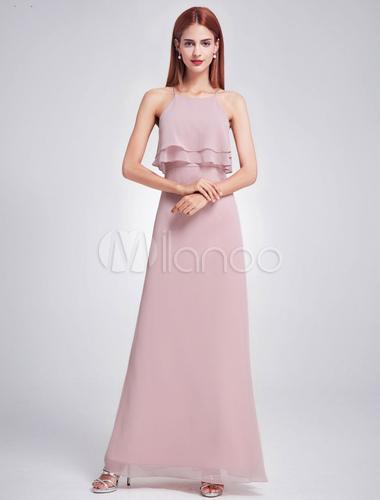3fbb8298e18f ... Chiffon Bridesmaid Dress Long Halter Sleeveless Layered Prom Dresses  Cameo Pink A Line Floor Length Party ...