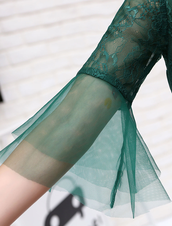 cfeeb831dc Short Prom Dresses Tulle Dark Green Long Sleeve Keyhole Sash Mini Cocktail  Dresses-No.