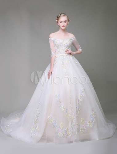 905aa87347e Princess Wedding Dresses Luxury Ball Gown Off The Shoulder White Half  Sleeve Lace Applique Bow Sash ...