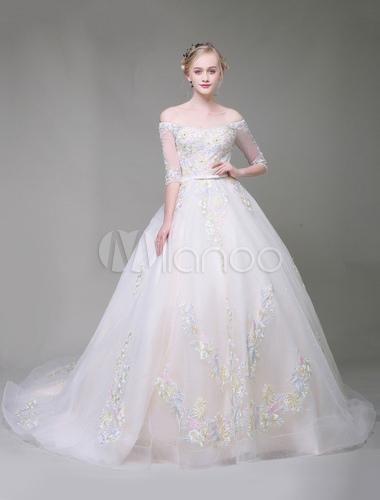 White Half Sleeve Wedding Dress