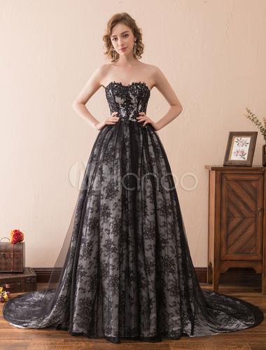 9837269dd1e ... Черные свадебные платья Кружевные без бретелек Свадебные платья Милая  декольте Принцесса свадебное платье с поездом- ...