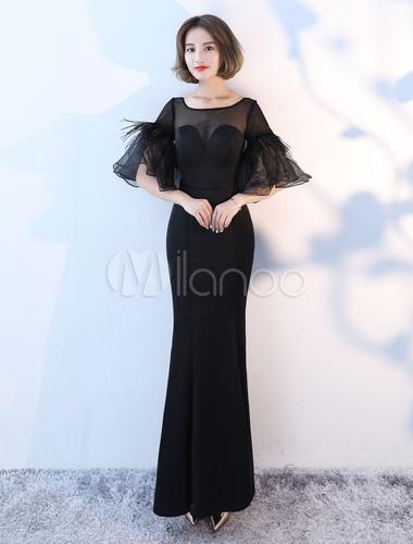 37659b11c72a3 ... Black Evening Dresses Long Bell Sleeve Illusion Satin Mermaid Formal  Dress-No.2 ...