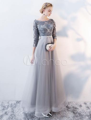 huge discount b41d6 ac735 Prom Kleider lange graue Spitze Blumen 3/4 Ärmeln Tulle Open Back Bow Sash  bodenlangen Abendkleid