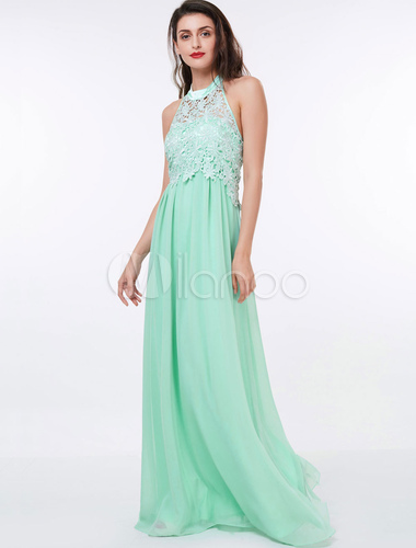Prom Dresses Long Chiffon Halter Pastel Green Lace Applique Backless ...