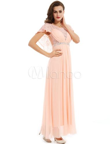 lange prom kleider chiffon nude spitze perlen plissiert capelet formale gelegenheit dress. Black Bedroom Furniture Sets. Home Design Ideas