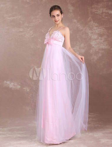 Prom Dresses Long Soft Pink Spaghetti Straps Empire Waist Backless
