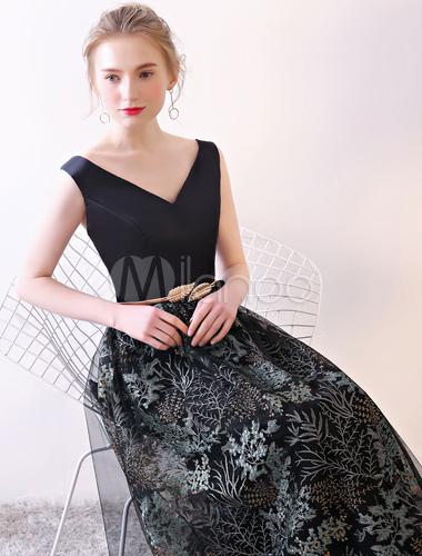 ... Black Prom Dresses V Neck Floral Print Satin Tulle Floor Length Formal  Occasion Dress With Sash ... 0ba9f6baeac