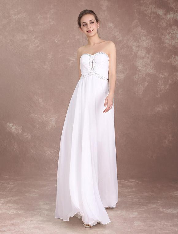 Beach Wedding Dress Strapless Chiffon Prom Dresses Long Beaded Sweetheart Neckline Floor Length Summer Bridal Gown