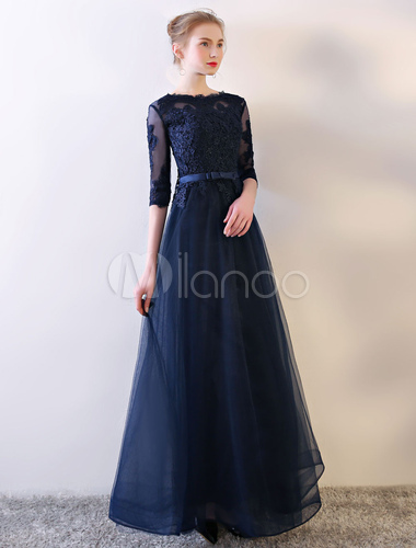 42ea0a424662 ... Abiti da sera lunghi Vestito da sera blu scuro Vestito a maniche lunghe  con fiocco in ...