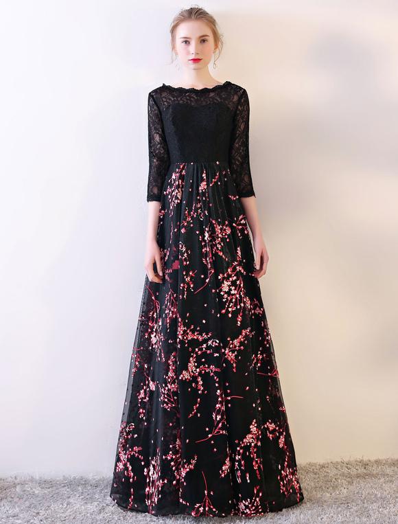 the latest b8207 824fa Vestito da sera formale da sera con maniche lunghe in pizzo nero con stampa  floreale a mezzo seno