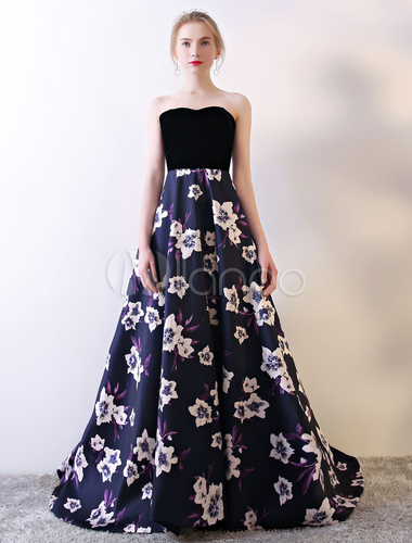 7fb51366211 ... Strapless Prom Dress Black Floral Print Prom Gown Velvet Satin Sweetheart  Neckline Formal Occasion Dress With ...