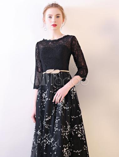 Half Sleeve Lace Prom Dress