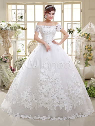 Great ... Ball Gown Wedding Dresses Lace Princess Bridal Gown Off The Shoulder  Ivory Short Sleeve Beaded Floor ...