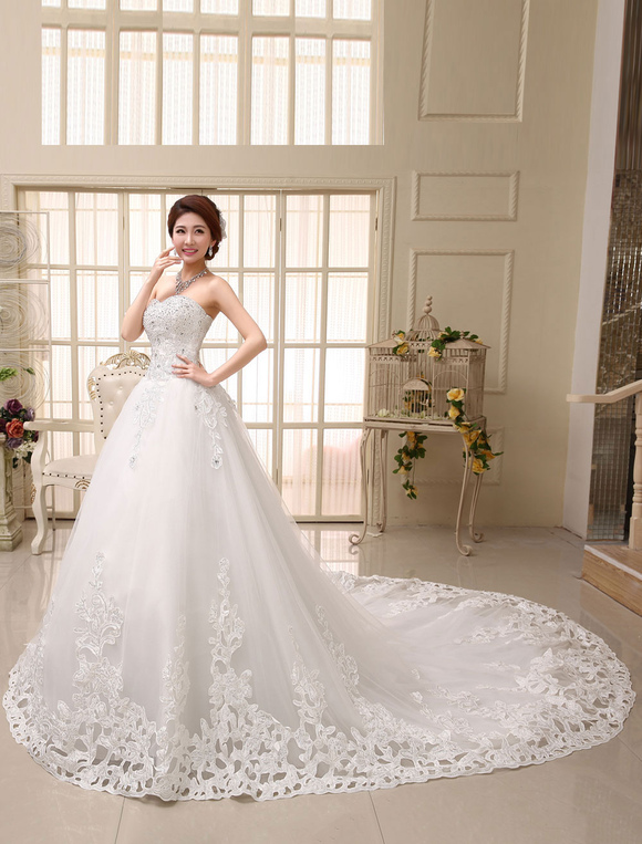 Lace Wedding Dress Princess Ball Gown Bridal Dress Ivory Strapless ...