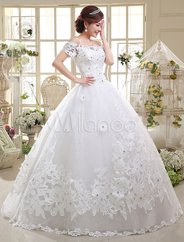 Ball Gown Wedding Dresses Lace Princess Bridal Gown Off The Shoulder ...