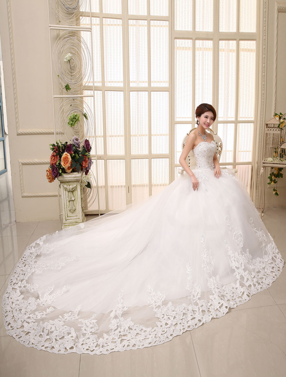 Lace Wedding Dress Princess Ball Gown Bridal Dress Ivory Strapless ...