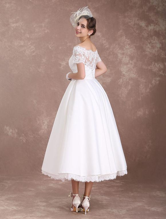 Short Wedding Dresses Vintage Bridal Dress 1950s Bateau Lace Short