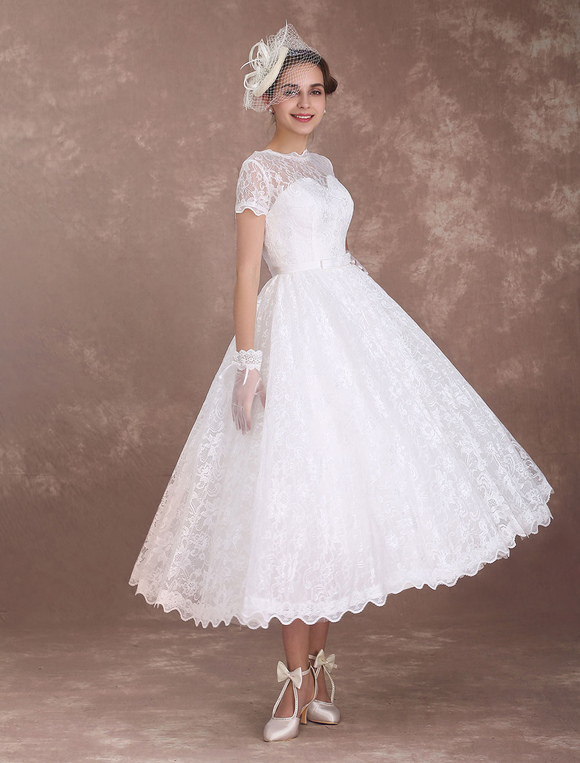 Lace Wedding Dresses Short Sleeve 1950\'s Vintage Bridal Dress ...