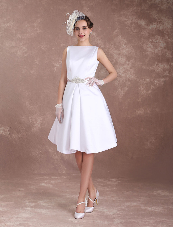 1ceb20a7e26f ... White Wedding Dresses Short Bridal Dress Vintage 1950's Satin Backless  Bateau Beaded Knee Length Wedding Reception ...