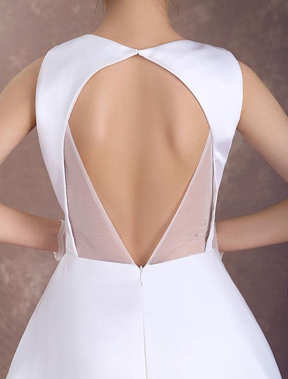 df4959e0d761 ... White Wedding Dresses Short Bridal Dress Vintage 1950's Satin Backless  Bateau Beaded Knee Length Wedding Reception