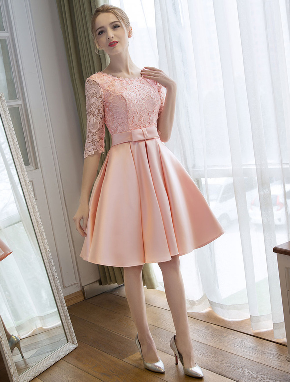 Tail Dress Soft Pink Satin Homecoming Lace Half Sleeve Bow Sash Graduation Dresses No