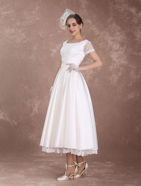 721c915b02b91 ... Vintage Wedding Dress Short Sleeve 1950 s Bridal Dress Backless Polka  Dot Lace Trim Ivory Wedding Reception ...