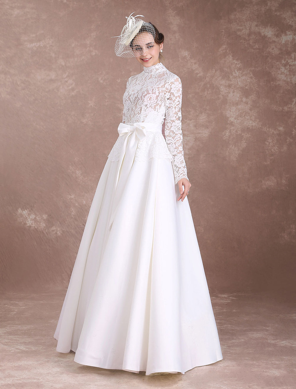 2c28771f352a ... Vintage Wedding Dresses Lace Ivory Bridal Dress Long Sleeve High Collar  Illusion Satin Cut Out Floor ...