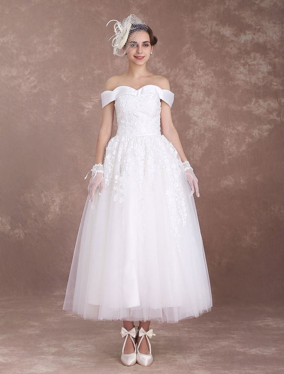Short Wedding Dresses Off The Shoulder Vintage Bridal Dress 1950\'s ...