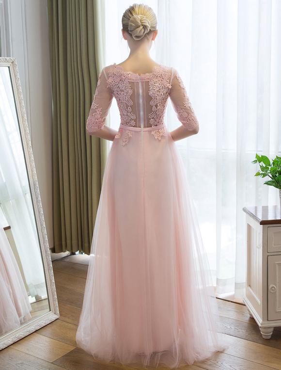 Prom Kleider lange weiche rosa halbe Hülse Spitze Tüll formale ...