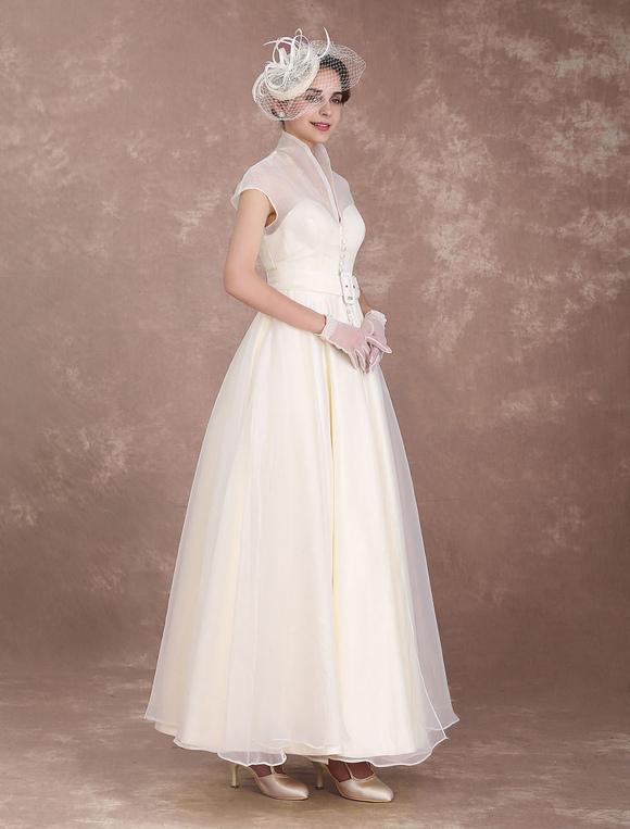 Abiti Da Sposa Vintage.Vestito Da Sposa Vintage Avorio Semplice Svasato Alla Caviglia