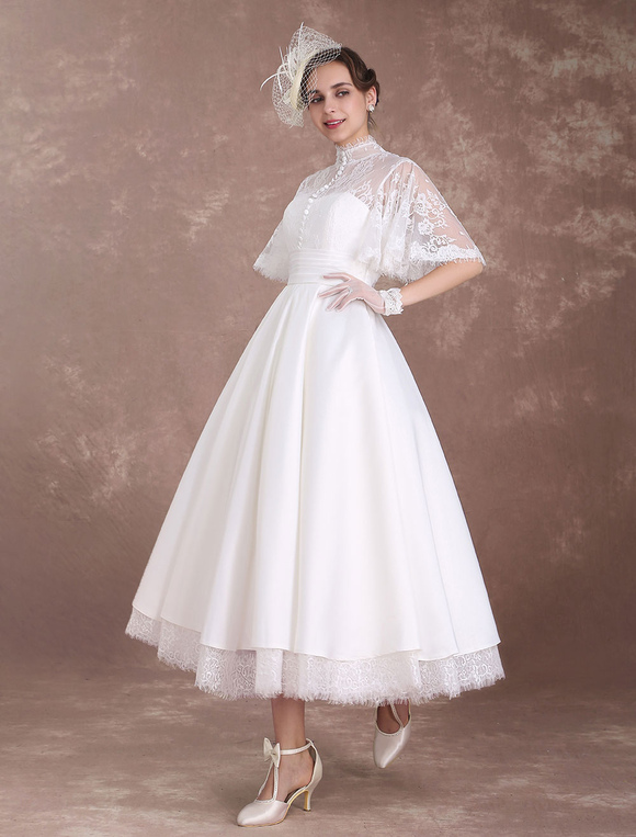 Short Wedding Dresses Boho Butterfly Sleeve Bridal Dress Lace High Collar Cut Out Pleated Tiered A