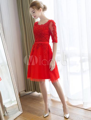 Robe f te de la rentr e a ligne en tulle rouge col rond for Plus la taille robes de mariage washington dc