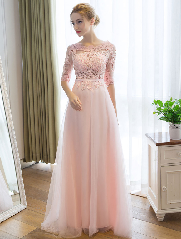 ... Prom Dresses Long Soft Pink Half Sleeve Lace Tulle Formal Evening Lace  Applique Maxi Party Dress ... 5f467d860fd4